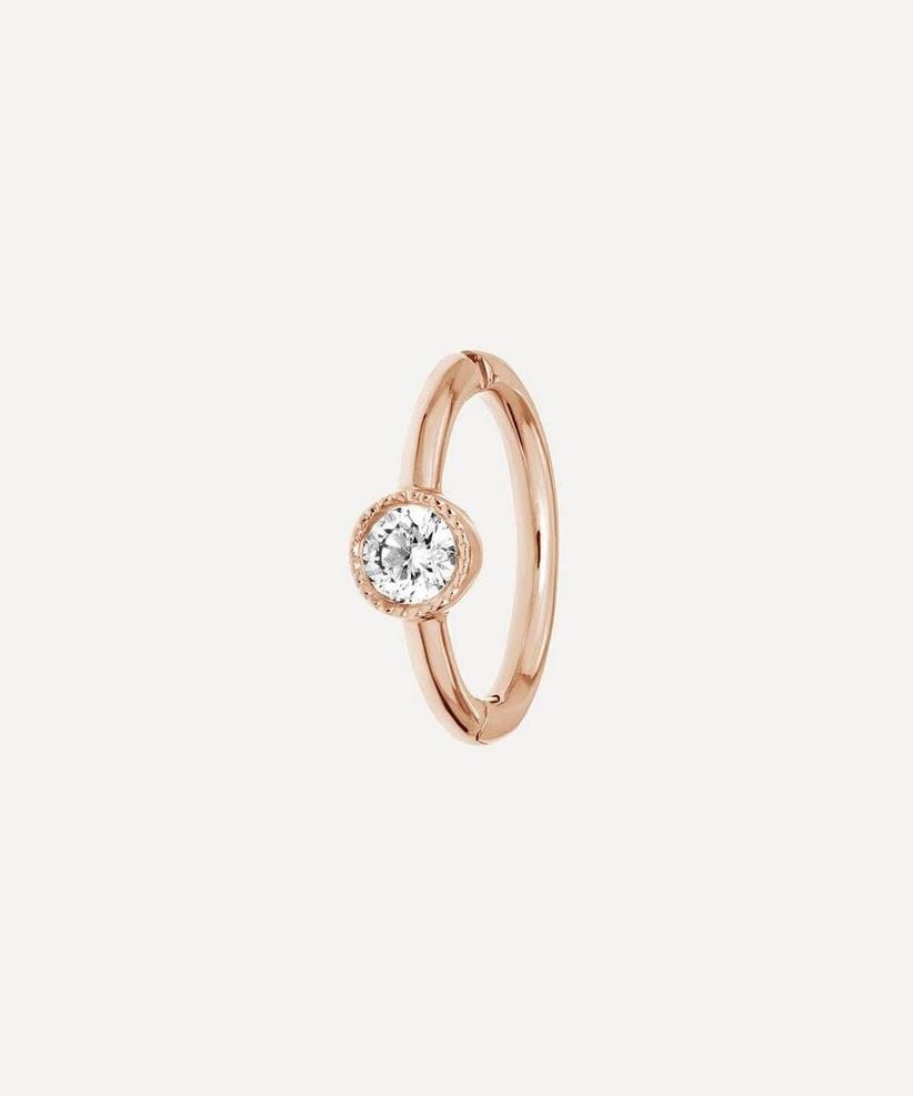 Rose gold diamond huggie earring