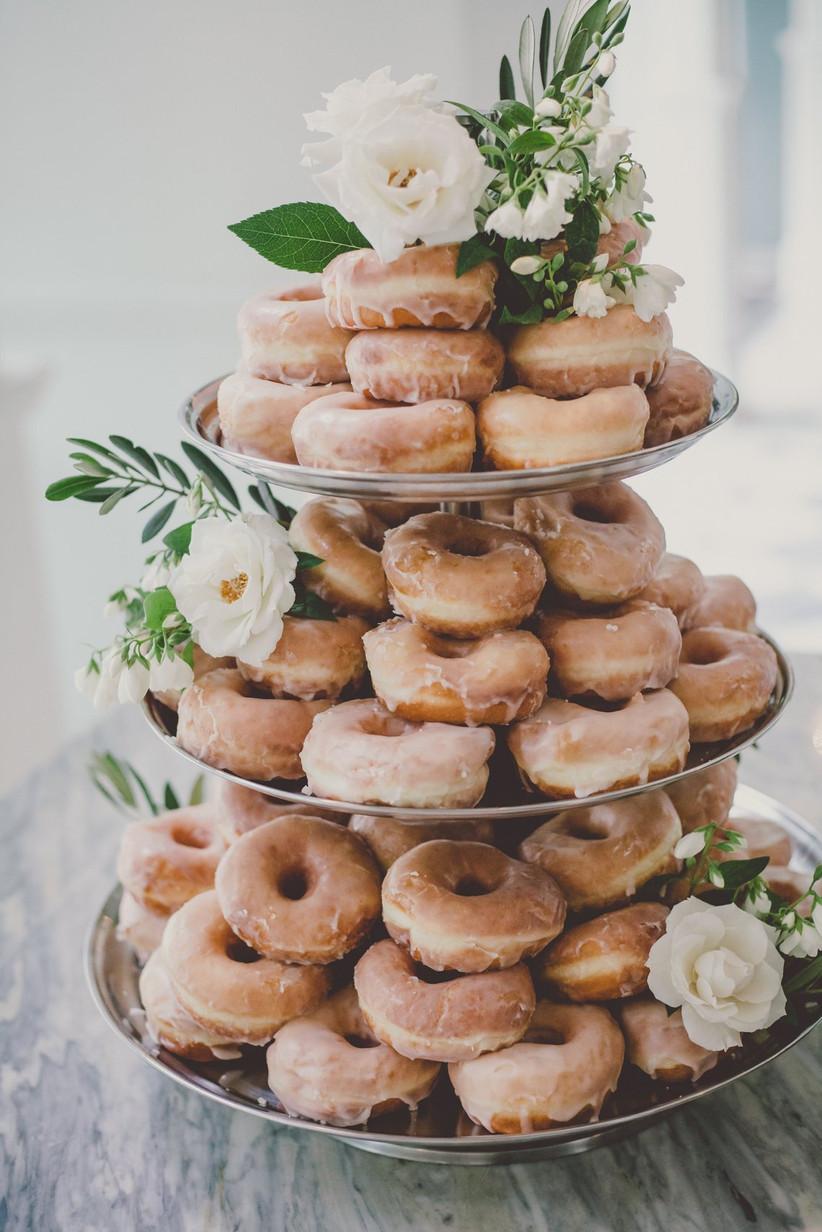 Doughnut rustic wedding cake with white flowers