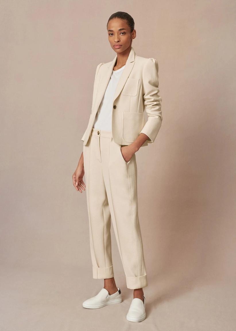 Cream trouser suit