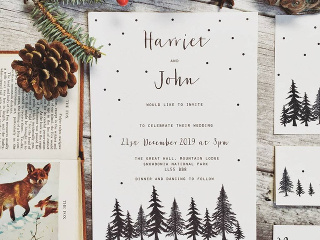 27 Enchanting Winter and Christmas Wedding Invitations