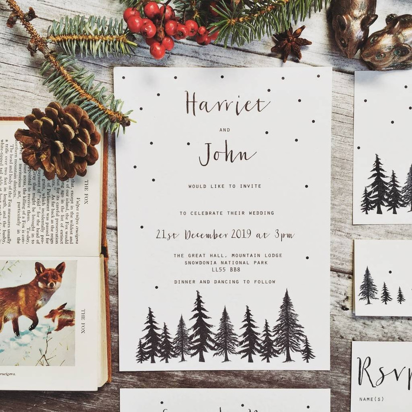 27 Enchanting Winter And Christmas Wedding Invitations Hitched Co Uk