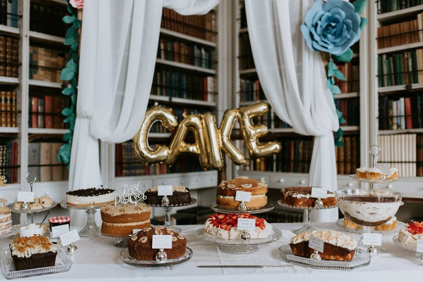 Cake table at a wedding