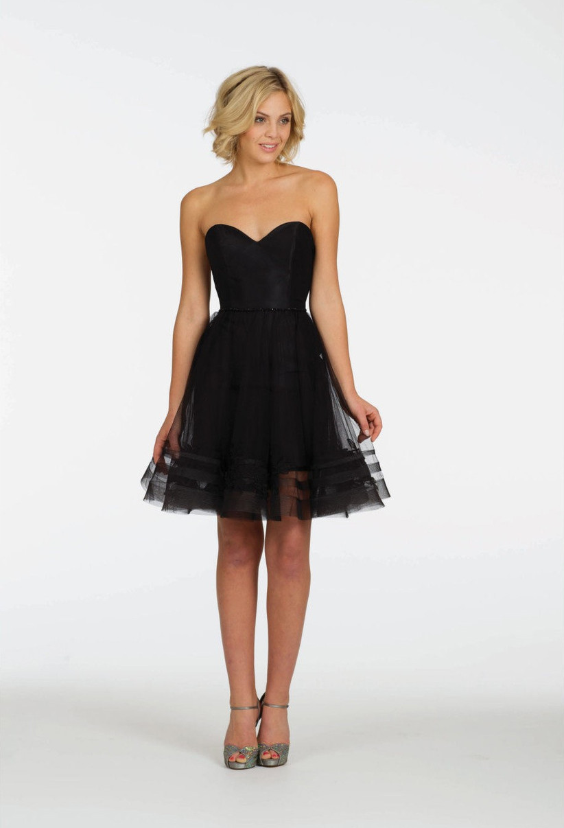 Strapless black bridesmaid dress
