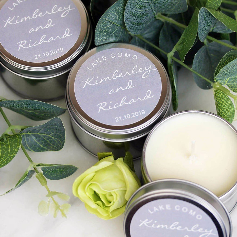 Personalised wedding favour candles