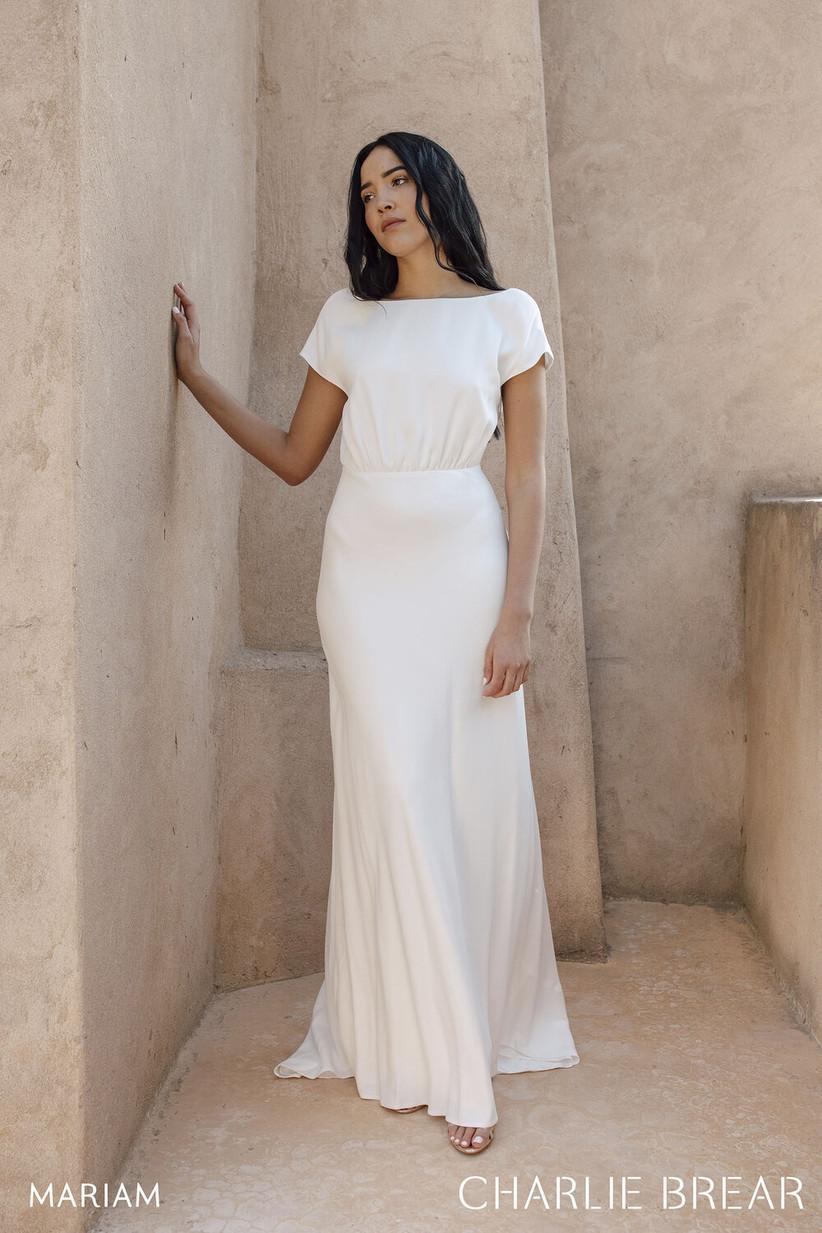 Plain white wedding dress with raglan sleeves
