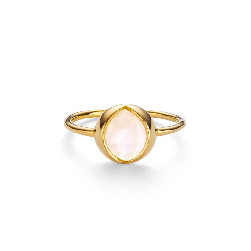 Gold slim banded ring with a large oval shaped rainbow moonstone at its centre