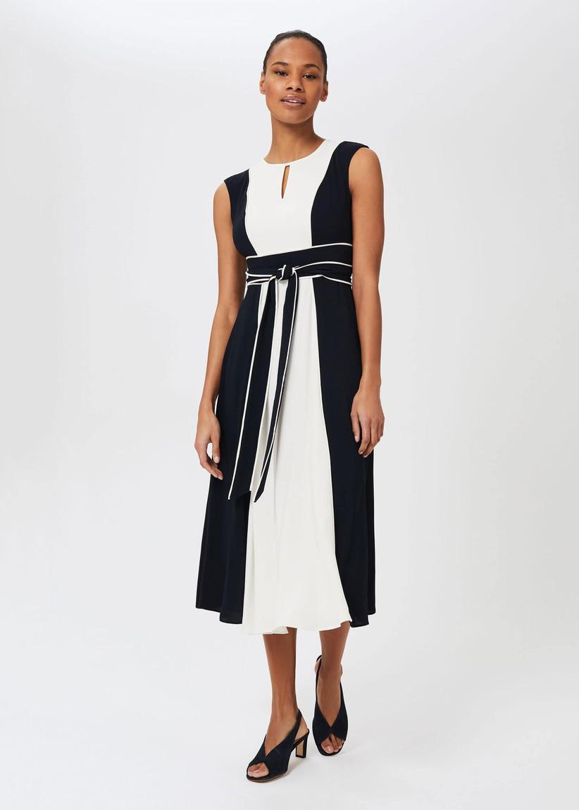 Black and white colourblock dress