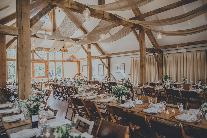 Rustic dining area with wooden beams
