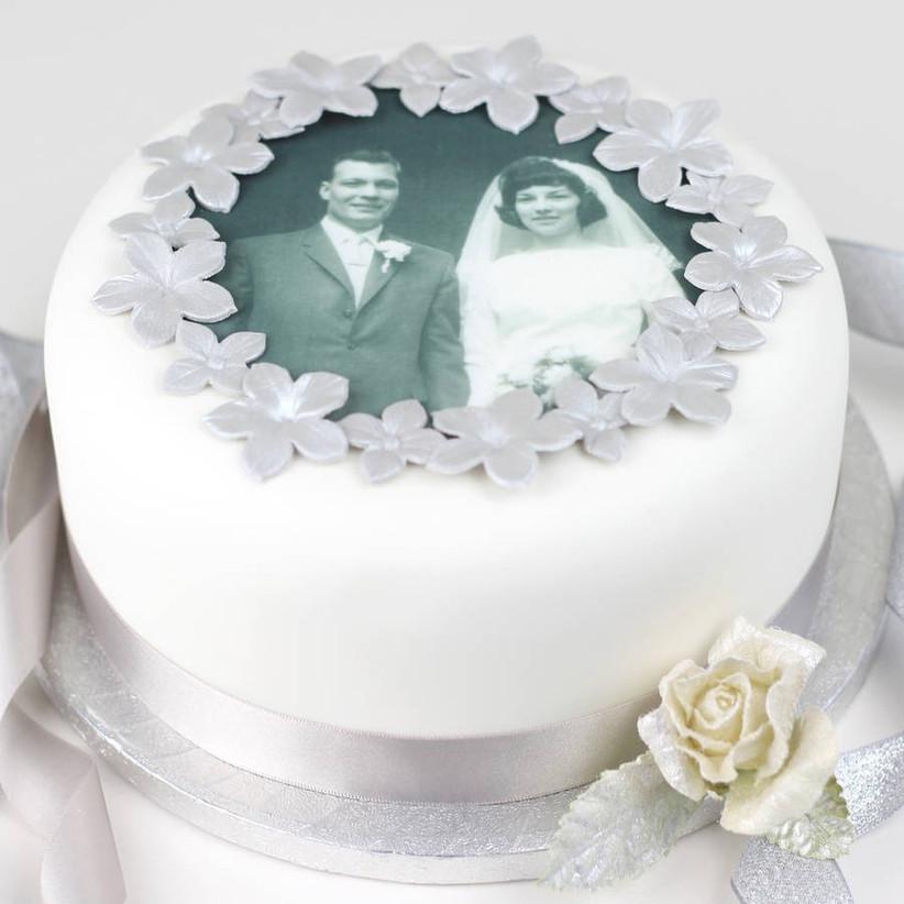 Diamond anniversary wedding photo cake topper