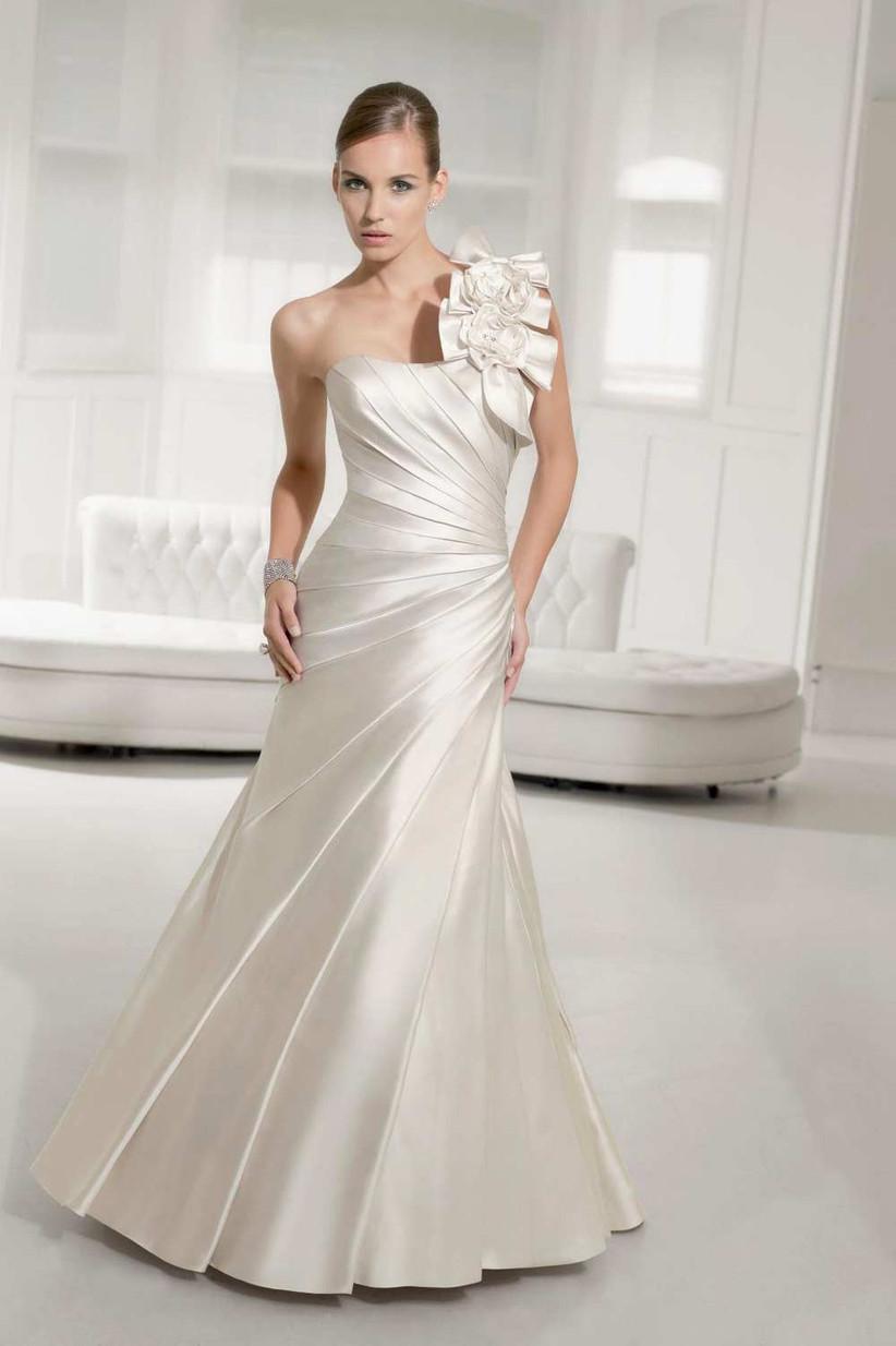 satin-wedding-dress-with-ruffled-neckline