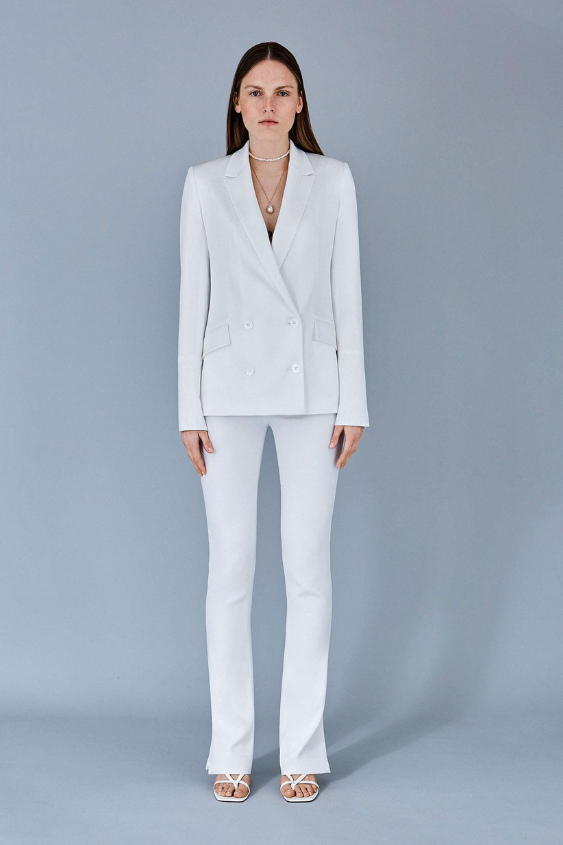 Girl wearing a white suit