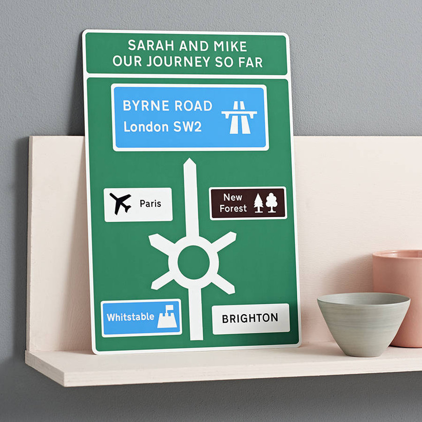 Personalised tin road sign