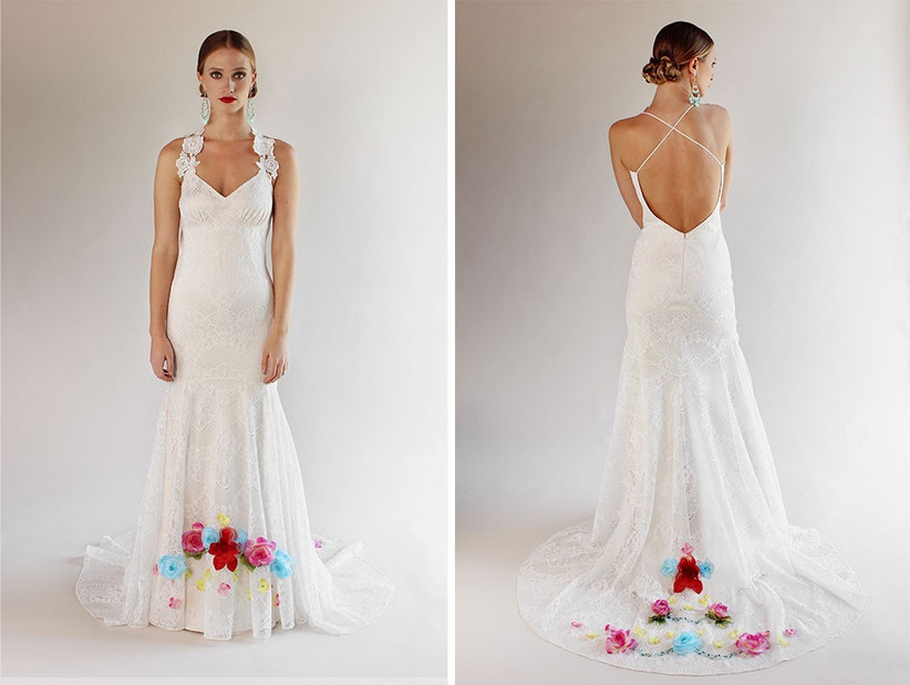 white-gown-bright-flower-detail