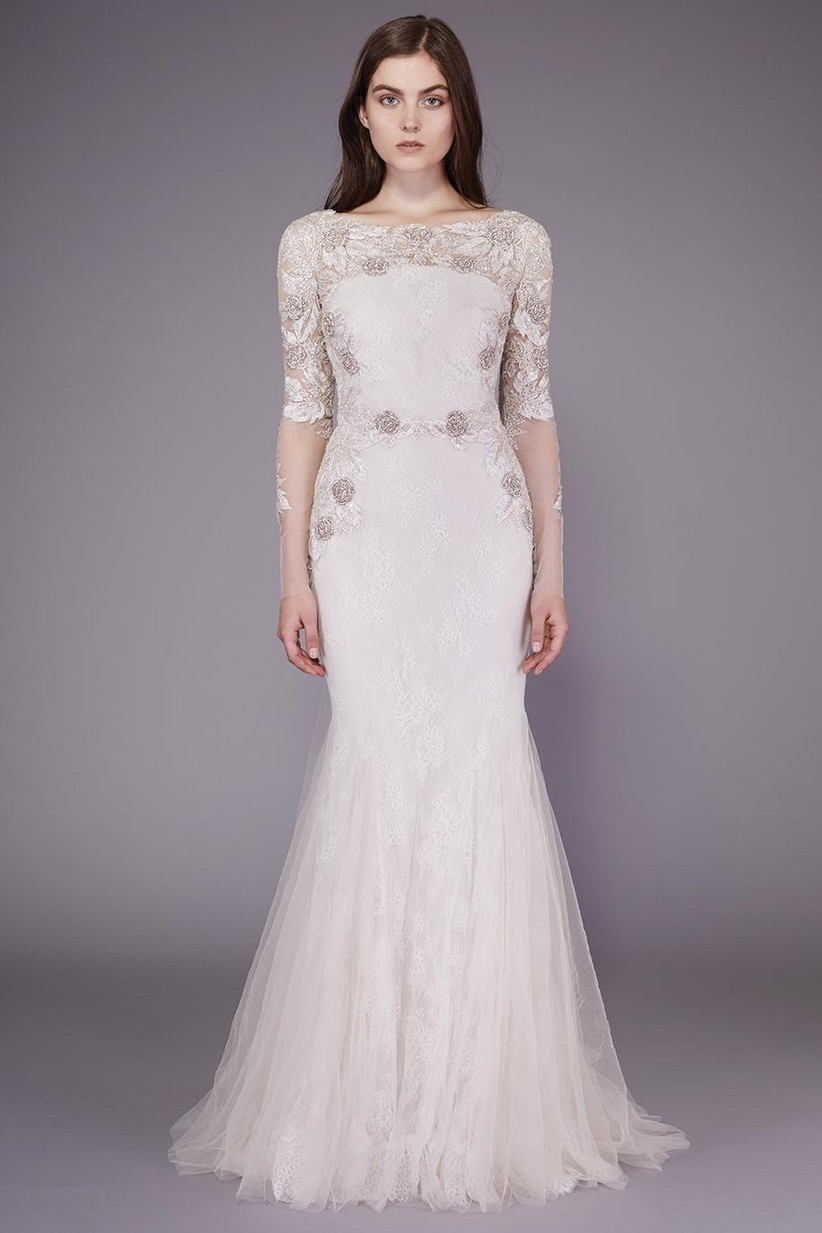 Illusion long sleeve wedding dress