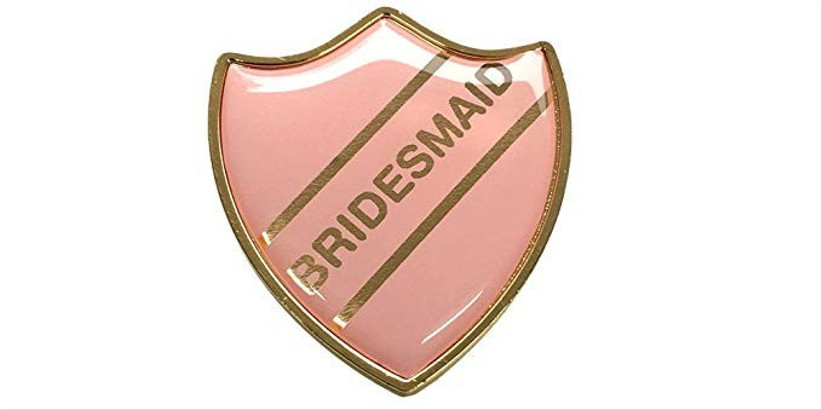 pink bridesmaid badge