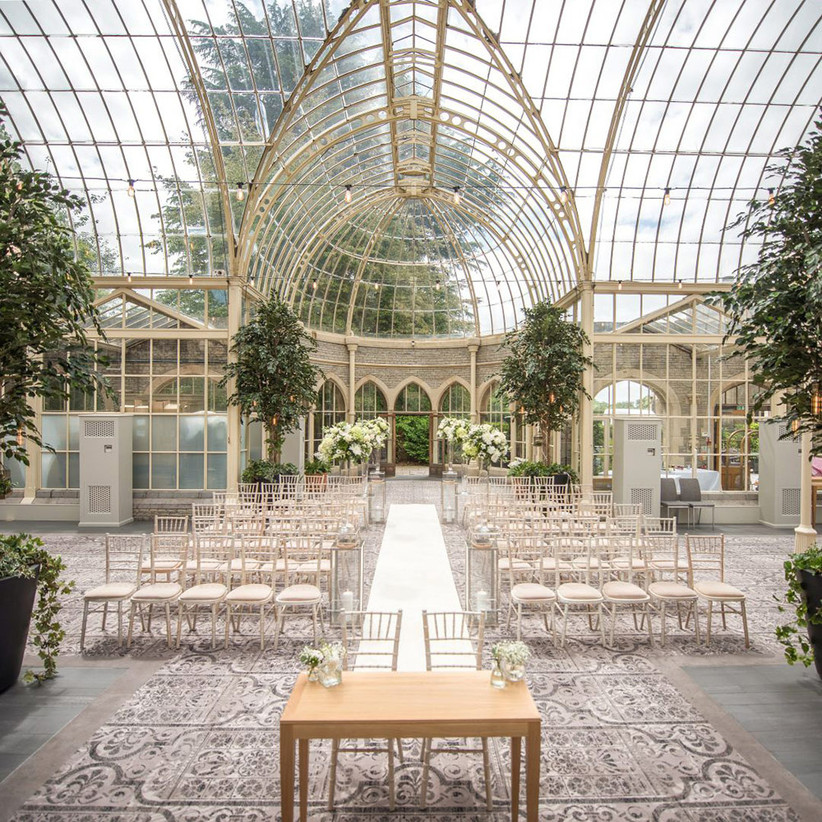 The Orangery at De Vere Totworth Court with glass domed roof and glass walls