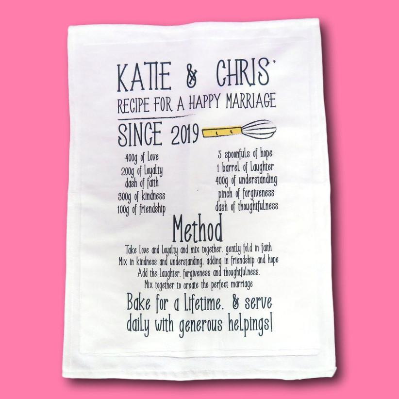 Personalised cotton tea towel