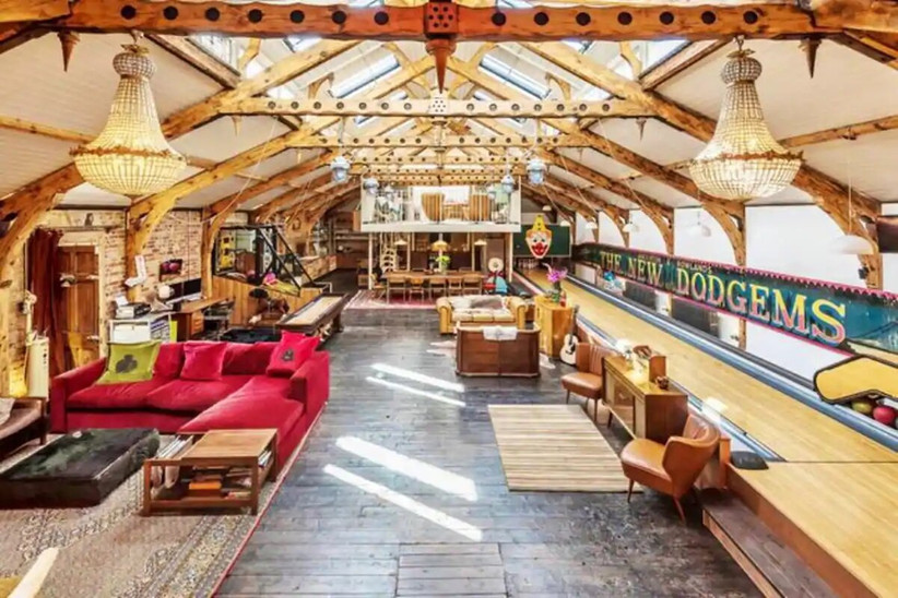 Retro decorated room with wooden beams