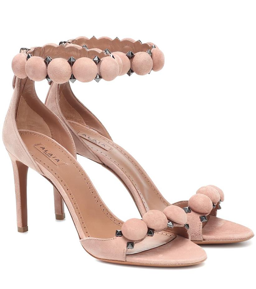 Pink suede bridal heel