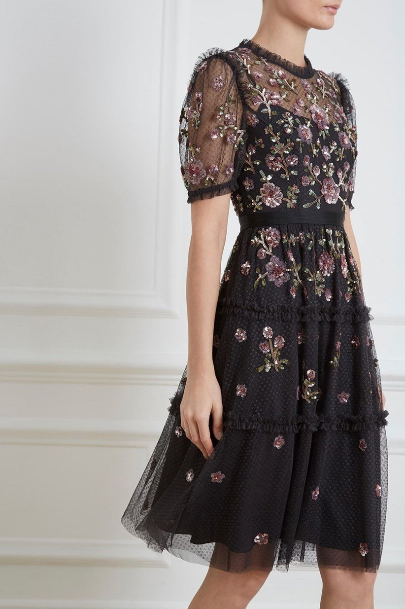 Floral black bridesmaid dress