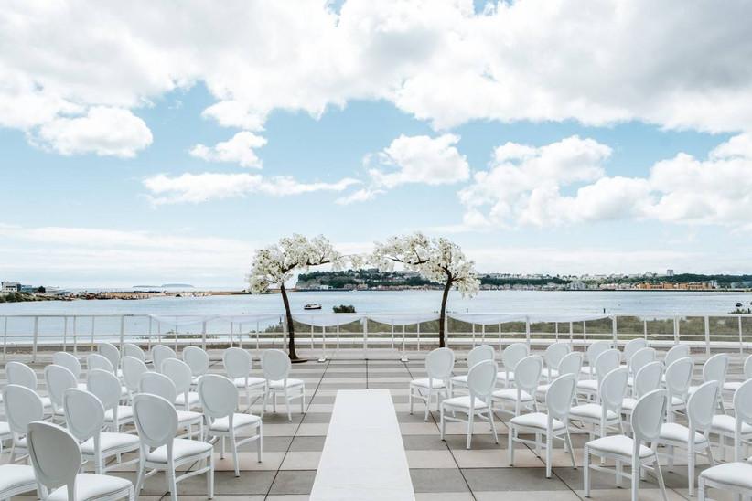 Outside wedding ceremony overlooking Cardiff bay