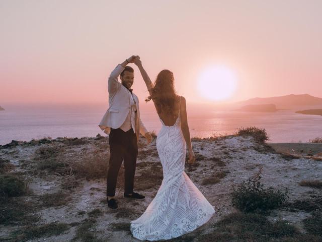 A Romantic Santorini Destination Wedding with a Coachella-Style Reception