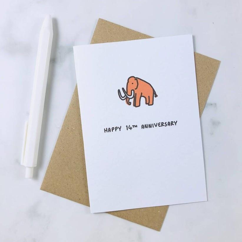 Happy 14th anniversary elephant card