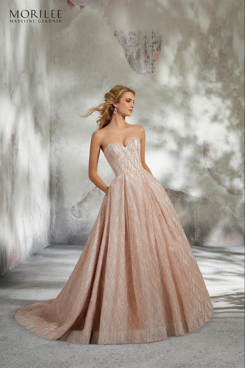 Pink ballgown wedding dress