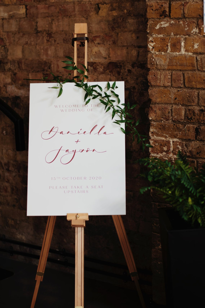 Welcome sign at Daniella and Jayson's wedding