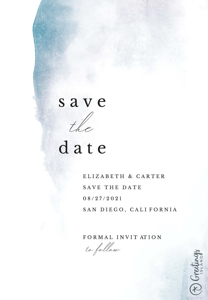 Watercolour blue save the date