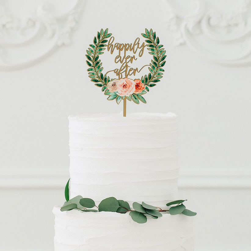 Green wreath happily ever after wedding cake topper