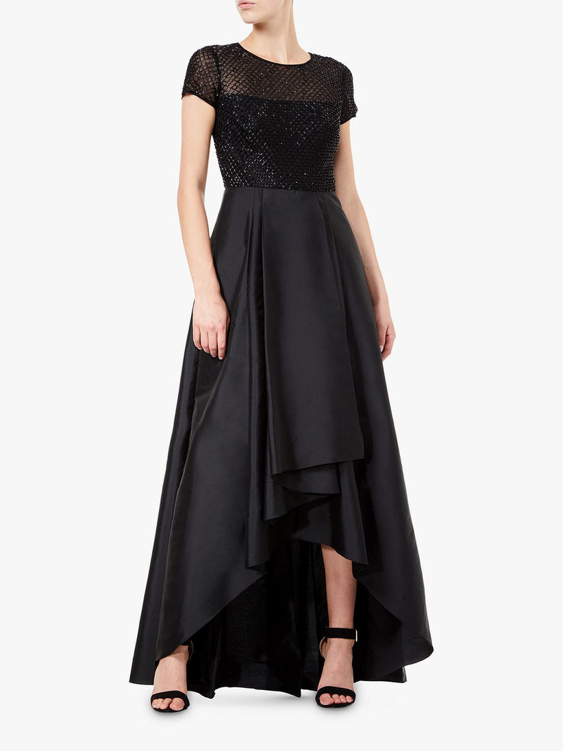 Black satin bridesmaid dress