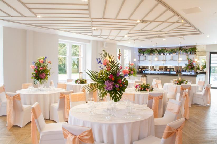 A wedding reception at Lancashire wedding venue Alberts Standish