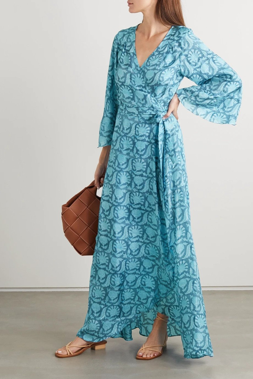 Blue printed silk wrap maxi dress