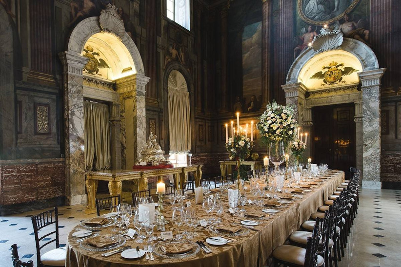 Luxury dining area with a set table
