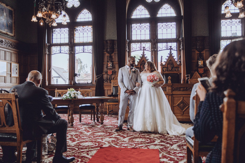 Bride and groom in a register office