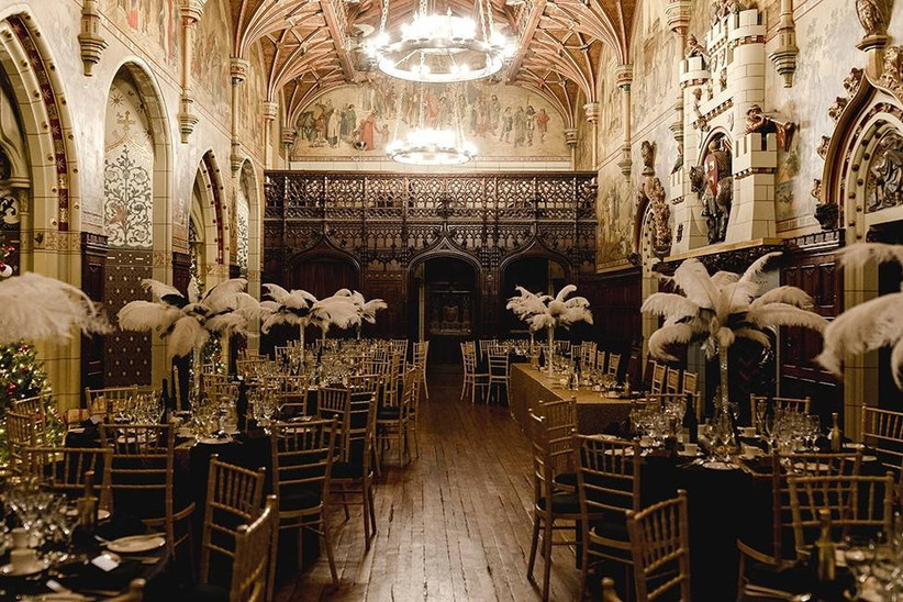 Grand wedding dining area in Cardiff Castle
