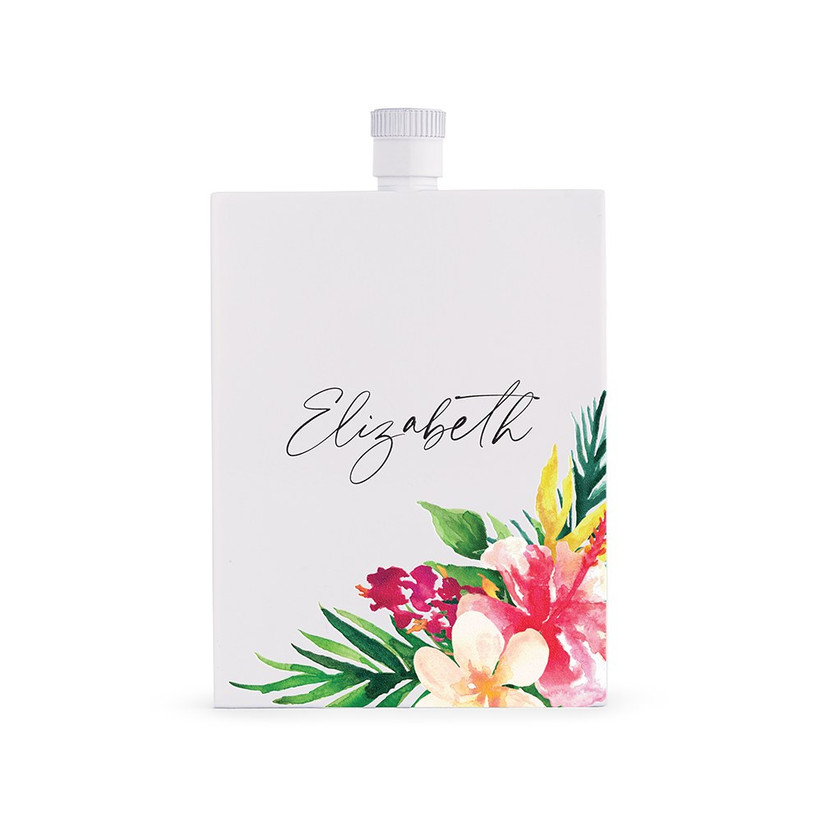 White hip flask with tropical decorations and a personalised name