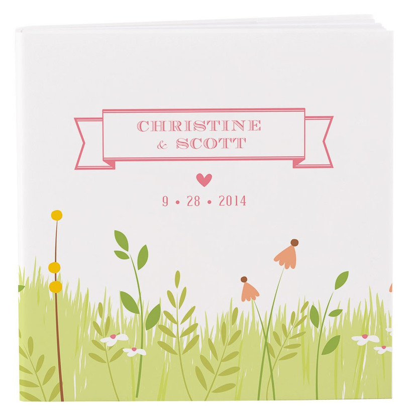 Personalised notebook with grass and flowers