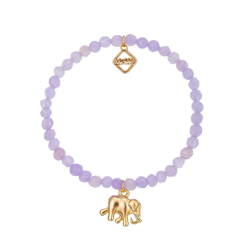 Lilac bead and elephant charm bracelet