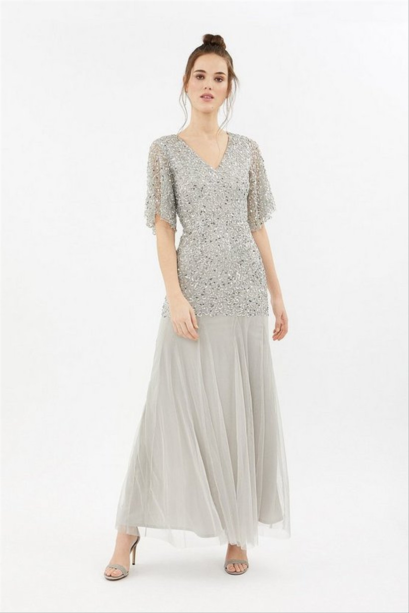 Silver sequin maxi dress with floaty skirt