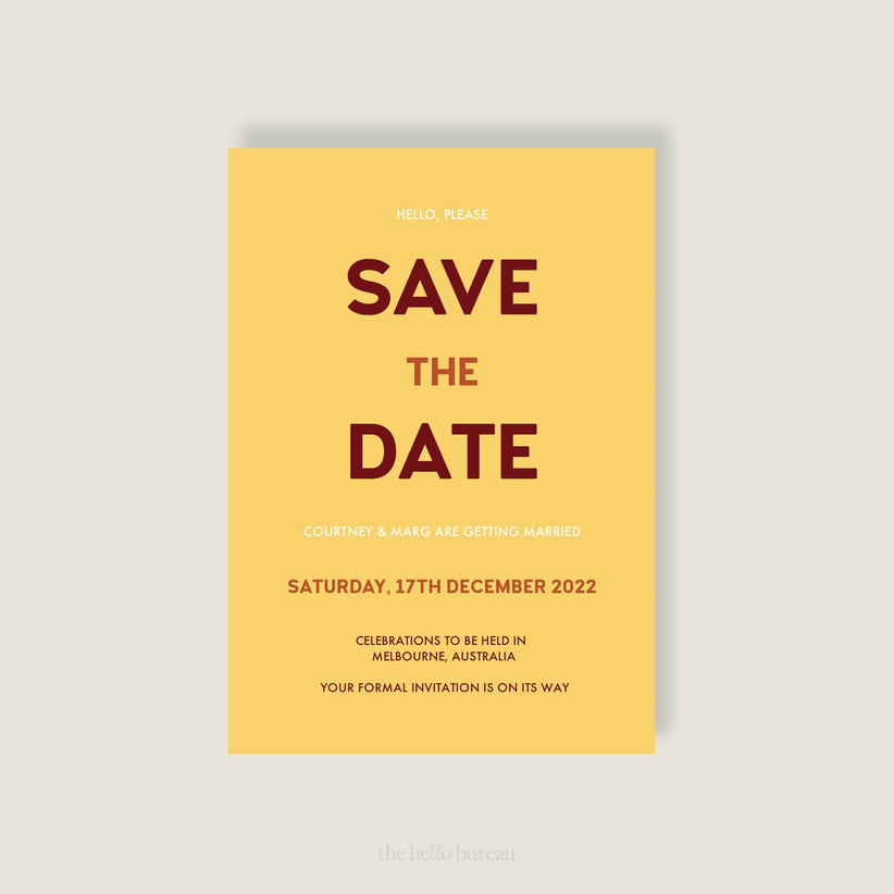 Simple yellow save the date