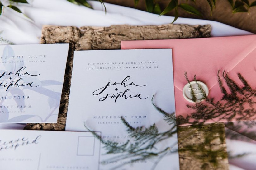 Wedding stationery suite with calligraphy