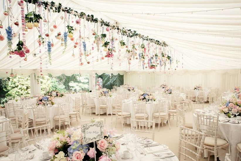 Marquee decorated with flowers