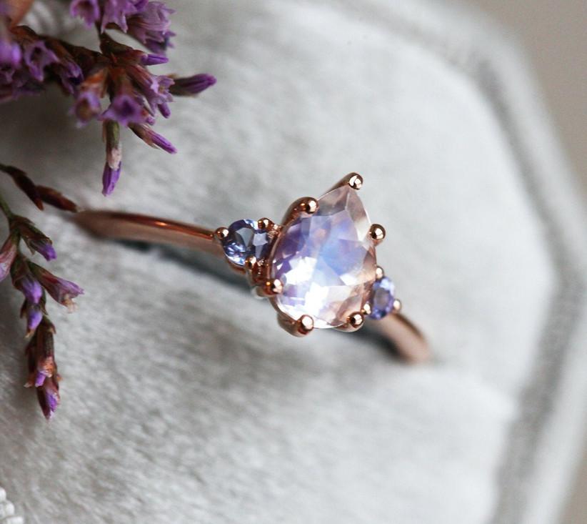 Moonstone and tanzanite engagement ring