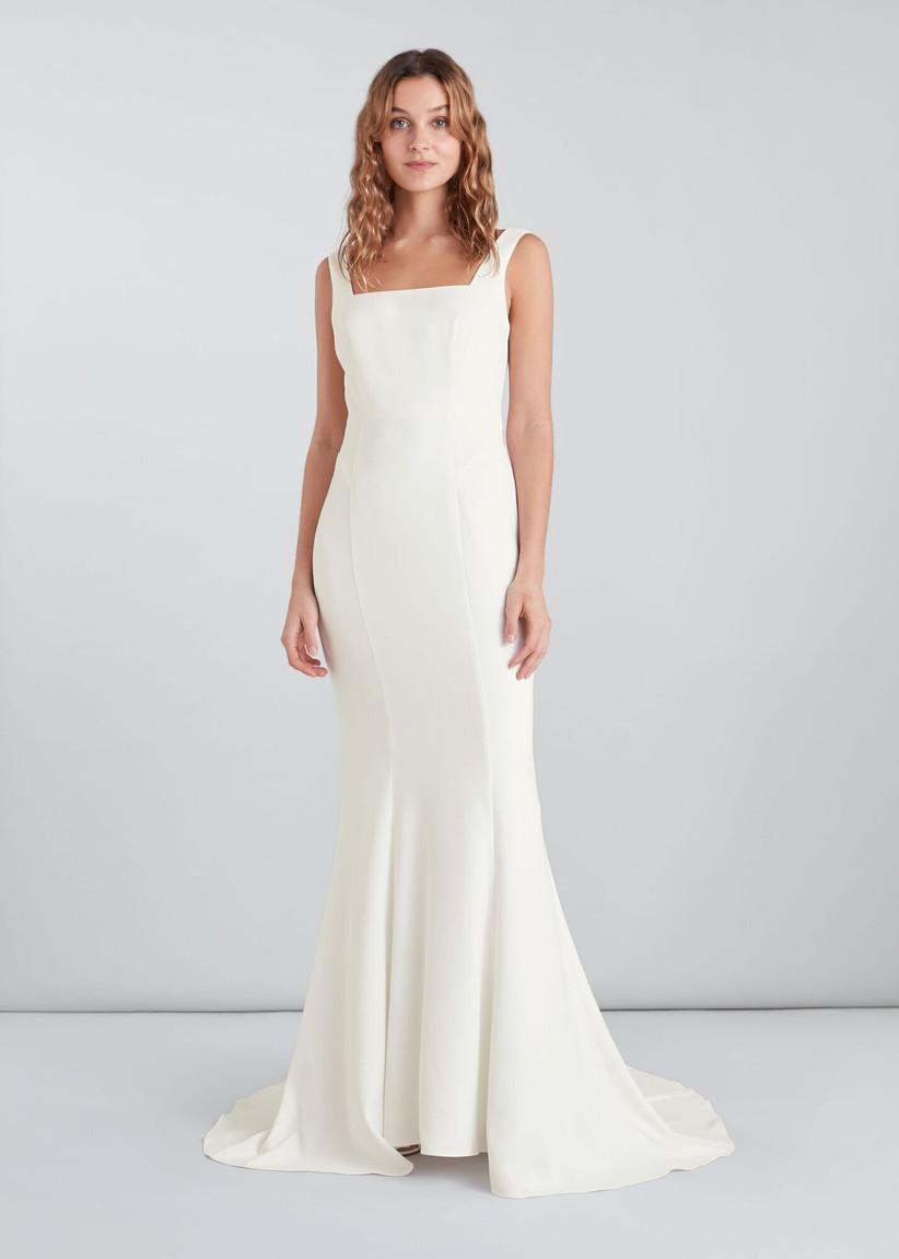 Model in a sleek white wedding dress