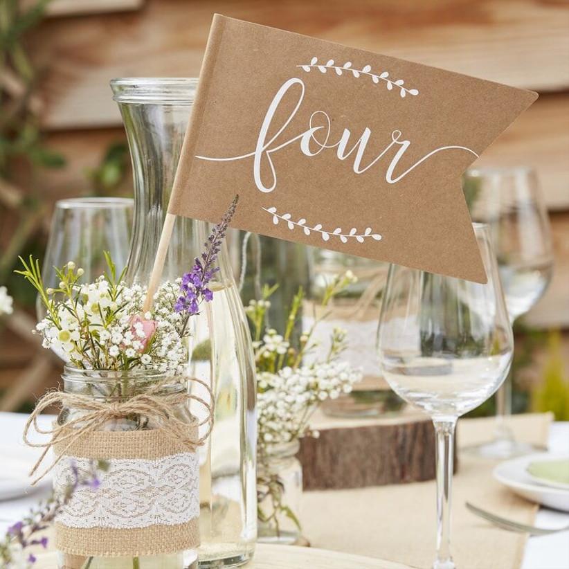 Brown flag wedding table number