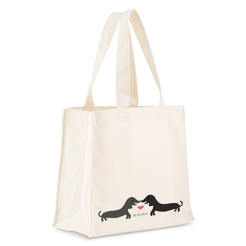 Puppy print cotton tote bag