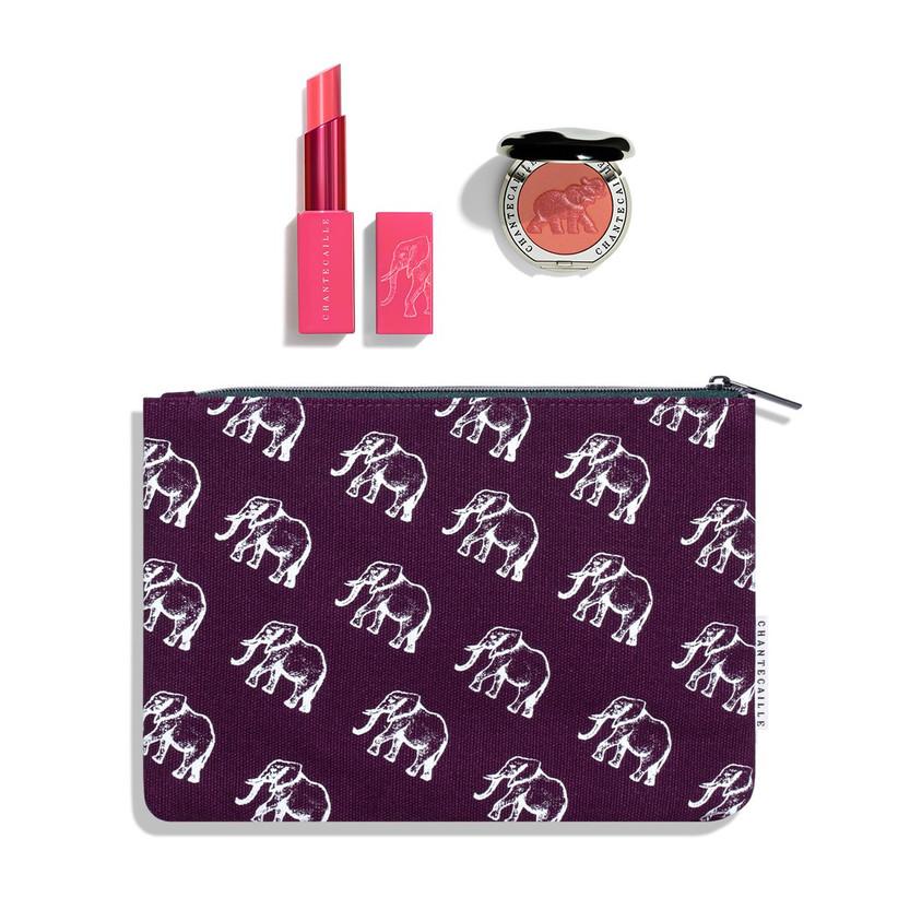 Elephant print makeup bag with a lipstick and blusher