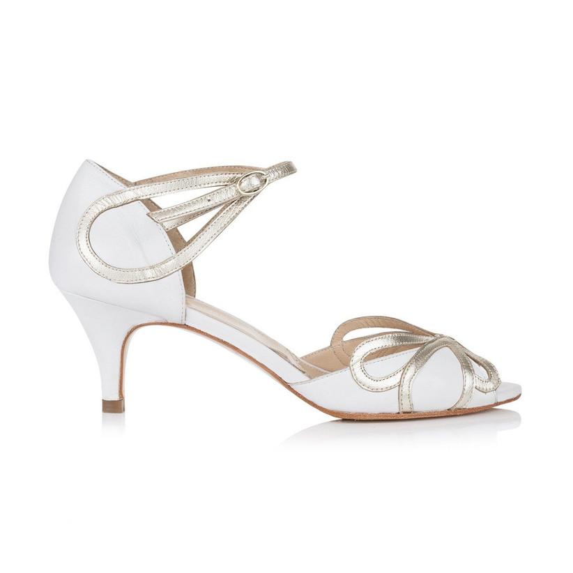 Peep toe white and metallic wedding heel